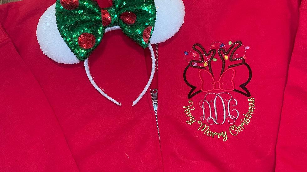 Very Merry Christmas Reindeer Minnie Monogram embroidered zip up hoodie