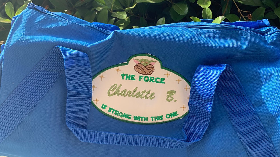 Baby Yoda Tag embroidered duffel bag
