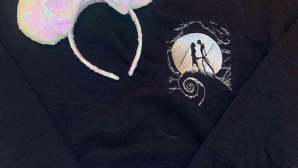 Jack and Sally embroidered hoodie, pullover, 1/4 zip