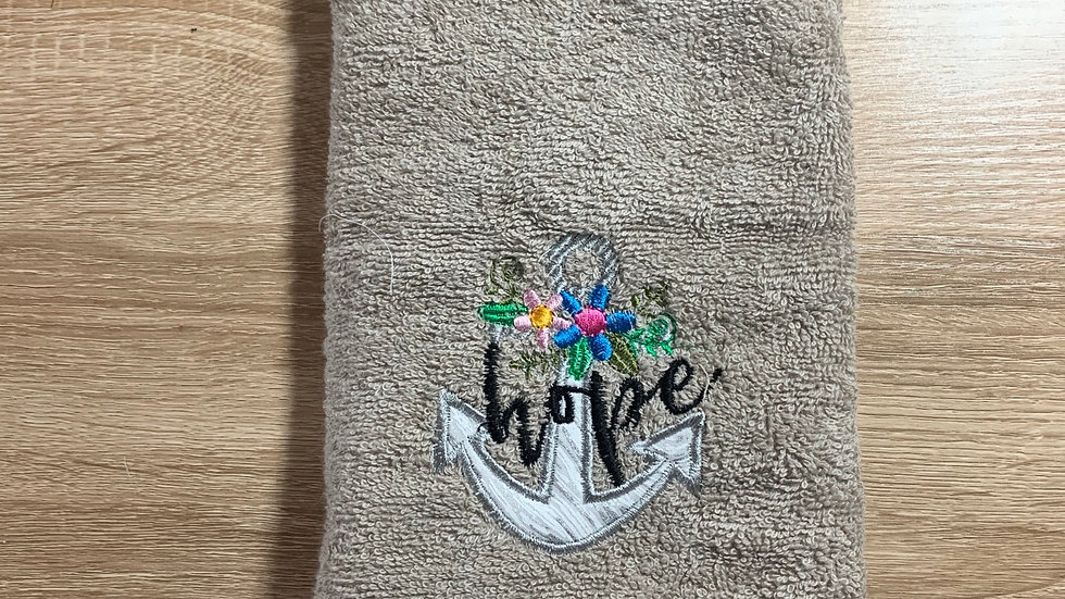 Hope anchor embroidered towels, blanket, makeup bag or tot