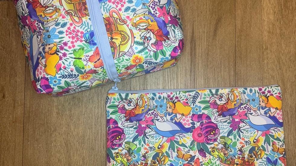 Alice in Wonderland Makeup Bag or Boxy Bag