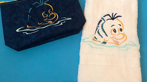 Flounder Embroidered Hand Towel/ Bath Towel/ Makeup Bag/Tote/ blanket $8.00+