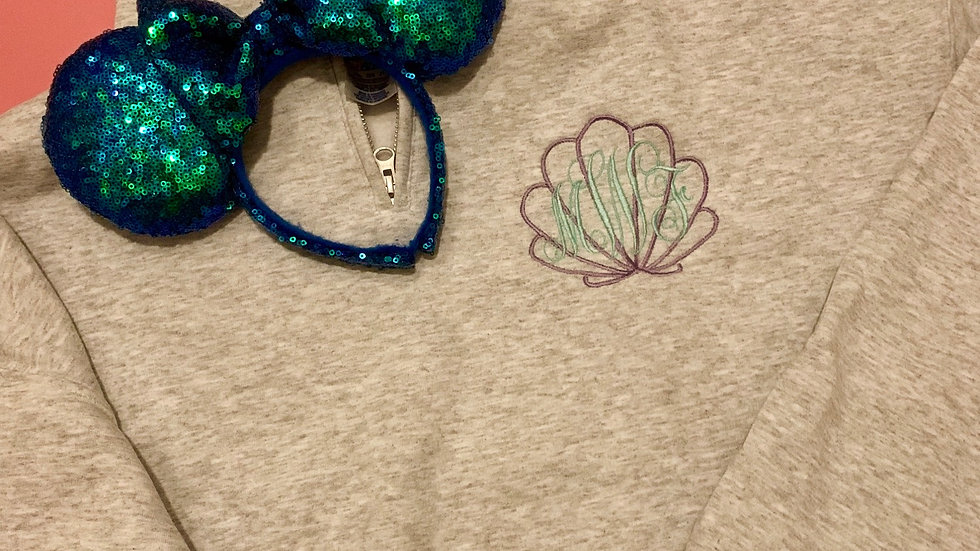 Shell Monogram embroidered pullover, hoodie or 1/4 zip