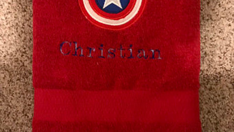 Captain America Embroidered Towel - Name option available