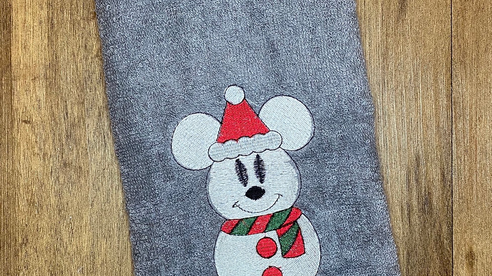 Mickey Snowman towels, makeup bag, tote