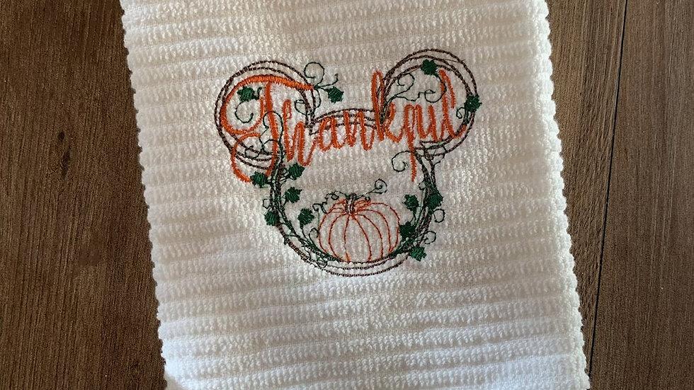 Thankful Mickey Pumpkin towels, makeup bag, tote