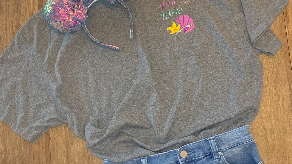 Part of your world  embroidered t-shirt or tan