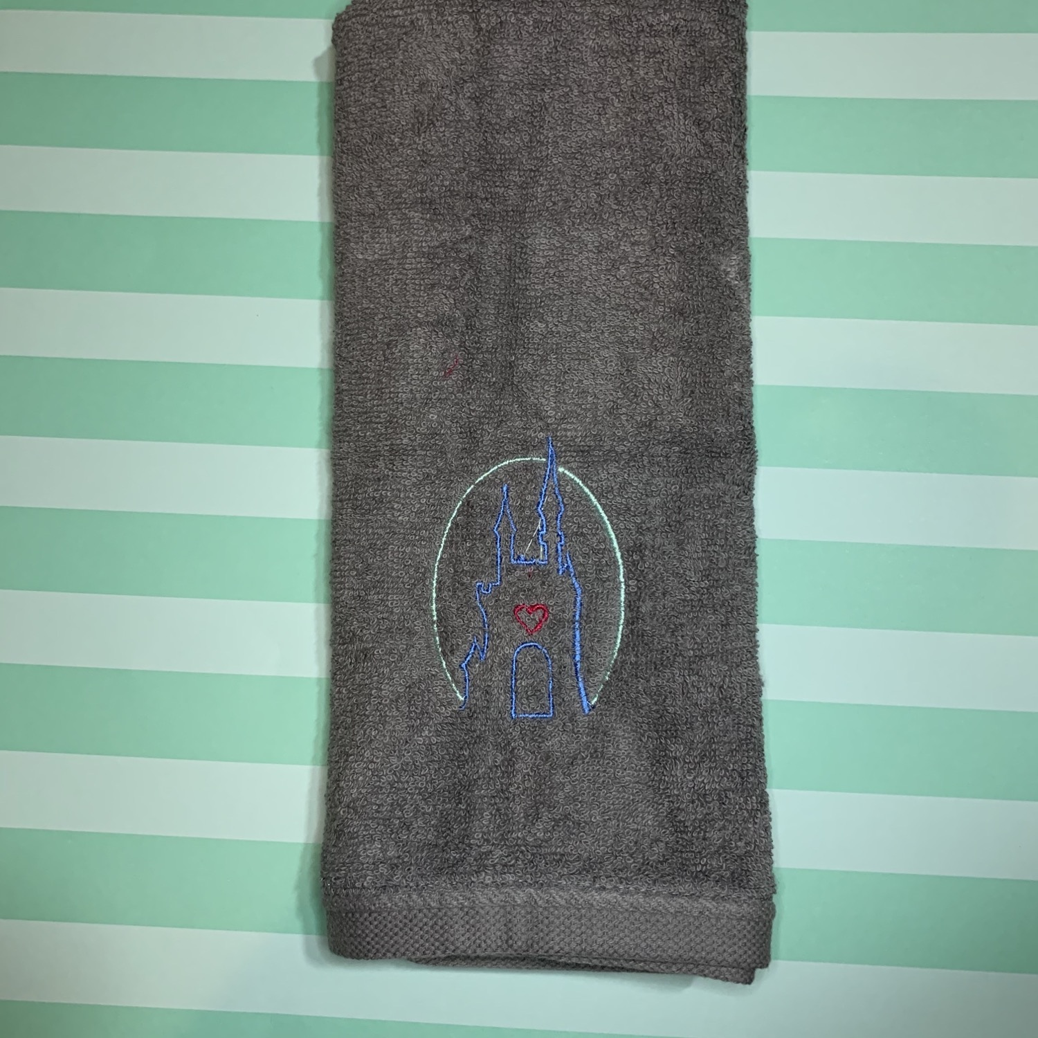 Castle with heart embroidered towels, blanket, makeup bag