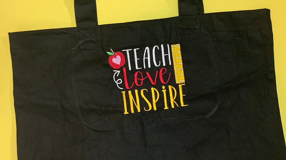 Teach Love Inspire Large Canvas tote