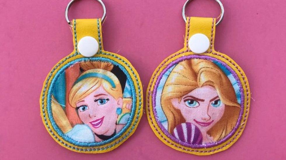 Disney princess applique embroidered keychain, cinderella, rapunzel
