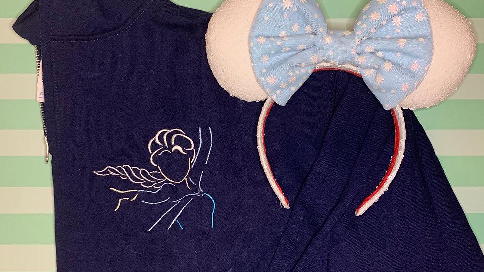 Elsa embroidered hoodie, pullover, 1/4 zip