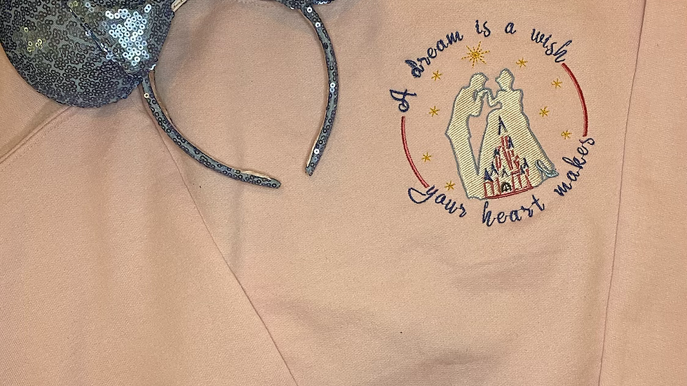 A dream is a wish your heart makes embroidered hoodie, pullover, 1/4