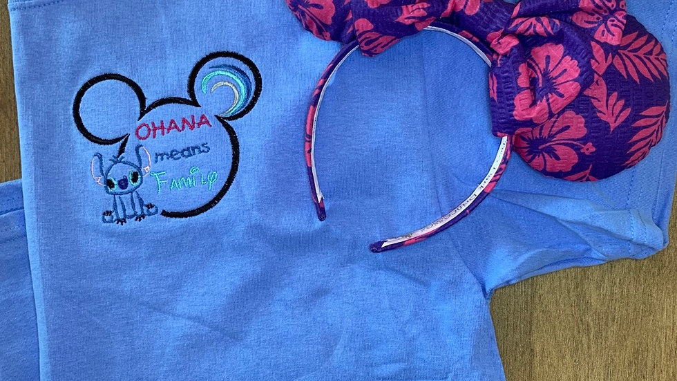 Ohana Means Family embroidered t-shirt or tank