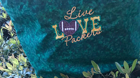 Live love packers embroidered blanket, tote bag, makeup bag or towels
