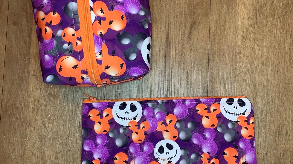 Nightmare before Halloween boxy bag or makeup bag