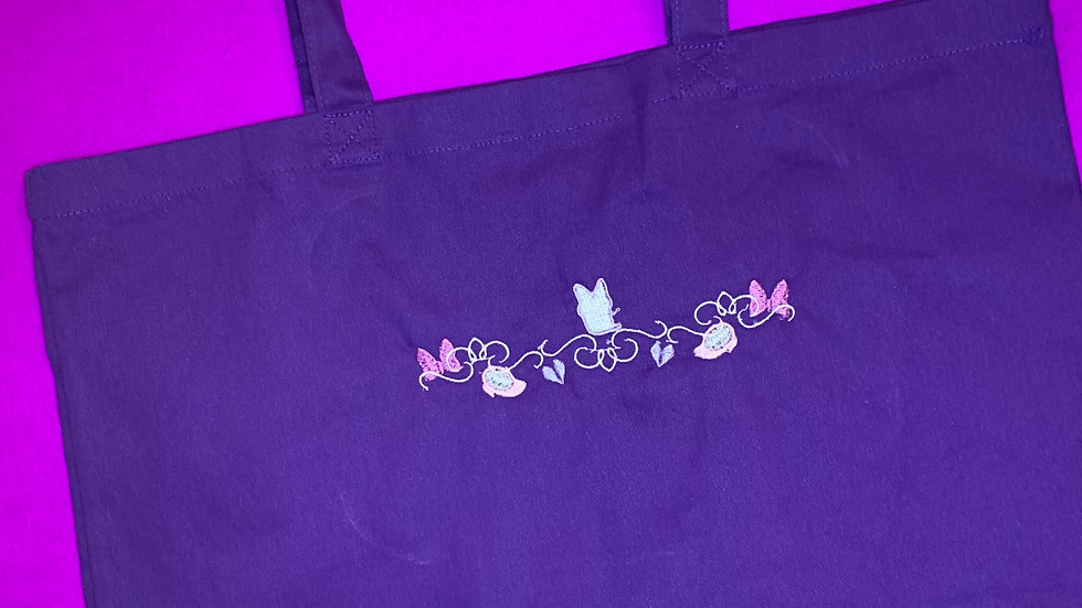 Daisy Duck Motiff Large Canvas tote