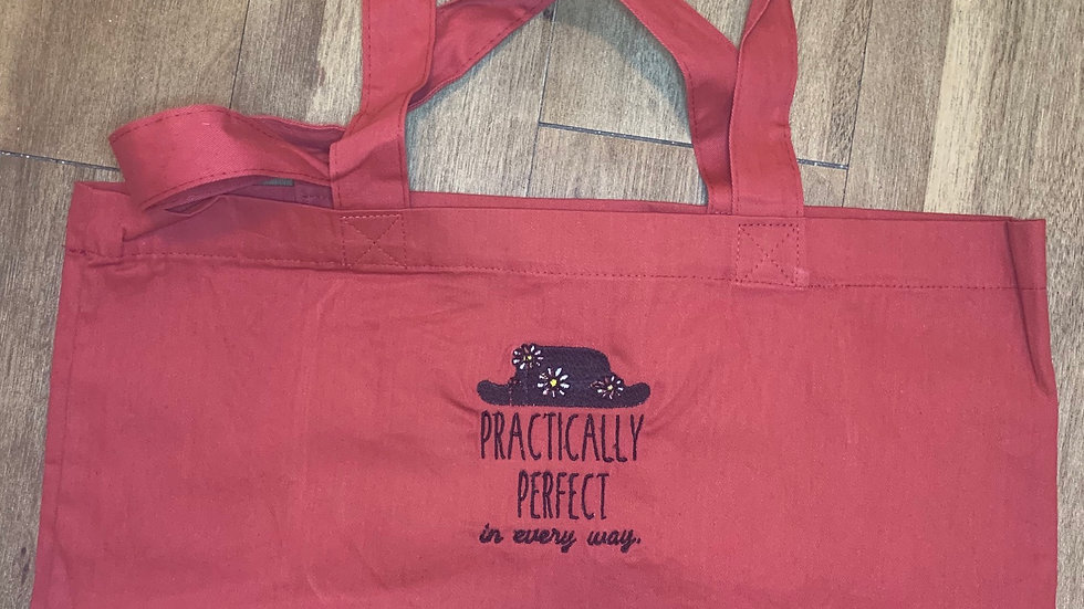 Practically Perfect in every way Large Canvas tote