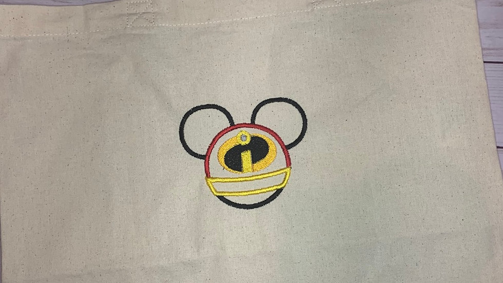 Incredibles Mouse embroidered market tote