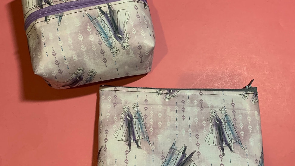 Anna and Elsa watercolor boxy bag or makeup bag