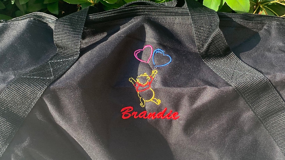 Pooh with Heart Balloons embroidered duffel bag