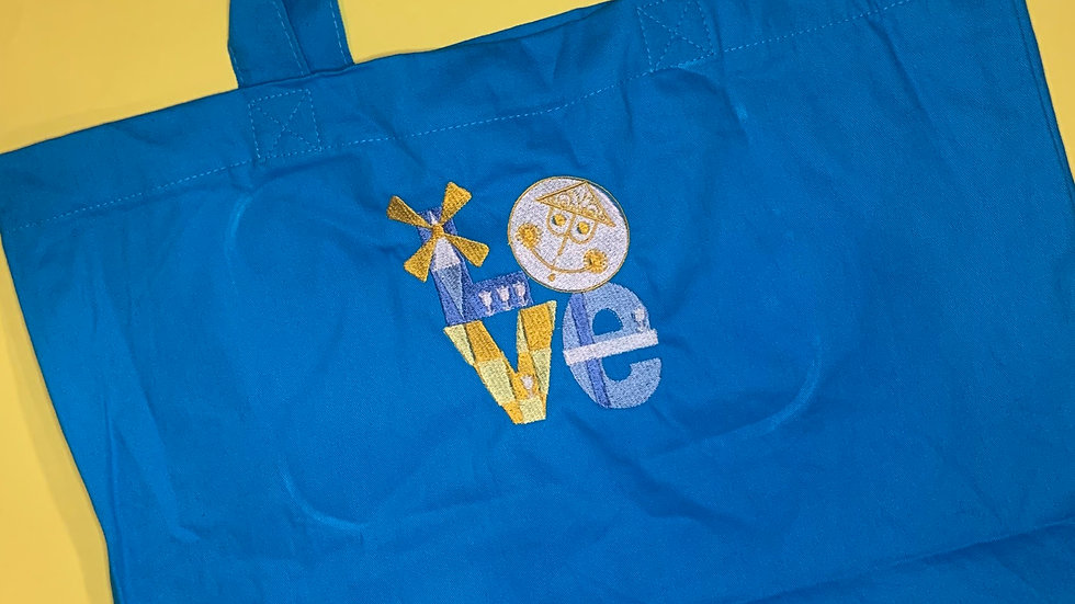 Small World Love Large Canvas tote