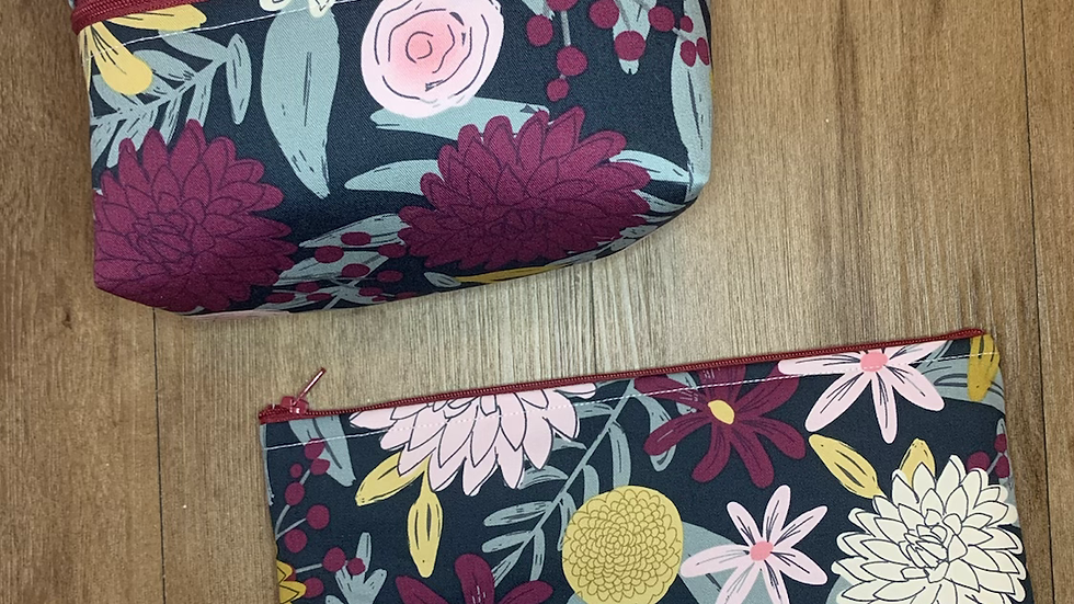 Forest Flowers Makeup Bag or Boxy Bag
