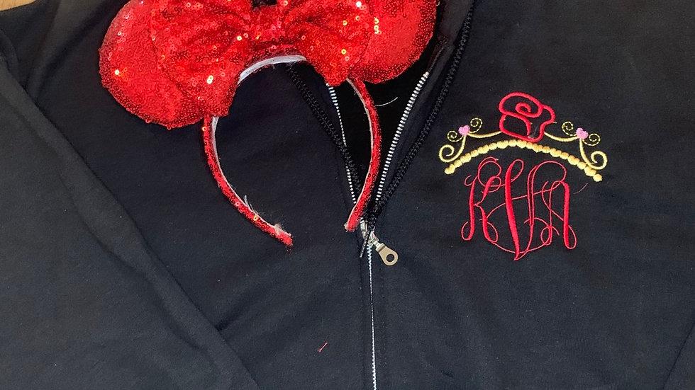 Belle Inspired Monogram embroidered zip up hoodie