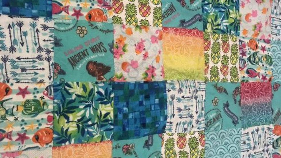 Moana patchwork minky blanket - you choose the backing