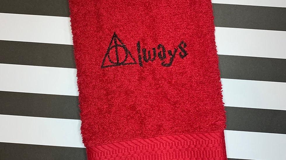 Always embroidered towels, blanket, make