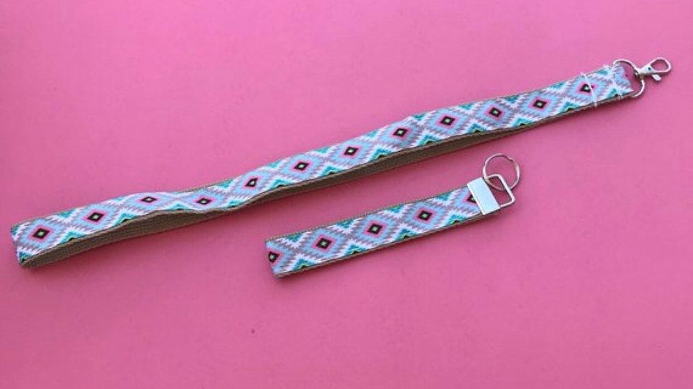 Bright aztec lanyard or wristlet