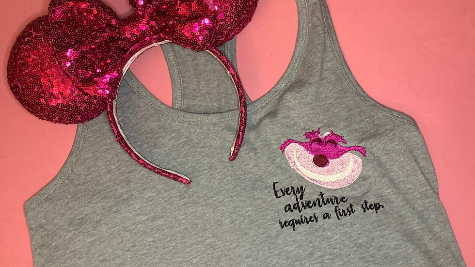 Cheshire Cat Quote embroidered t-shirt or tank top