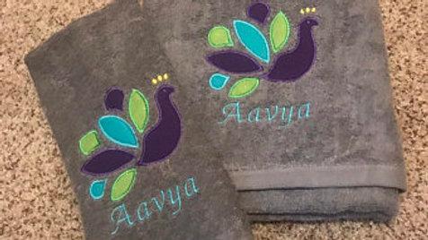 Peacock Embroidered Bath Towel/ hand towel/ makeup bag/ tote bag/ scarf/ blanket