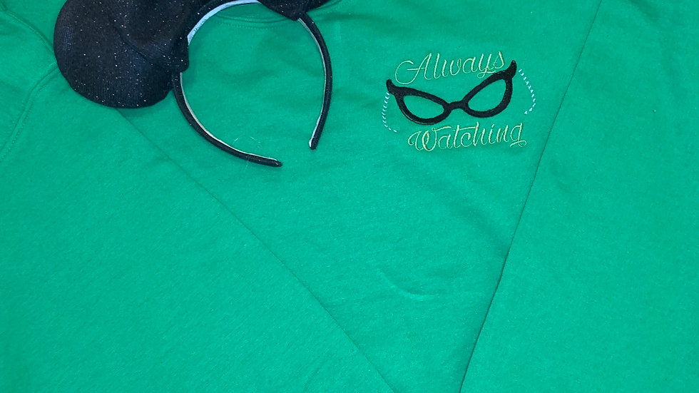Roz Always Watching embroidered hoodie, pullover, 1/4 zip
