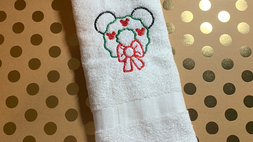 Mickey Mouse Wreath embroidered towels, blanket, makeup bag