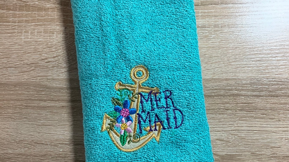 Mermaid anchor embroidered towels, blanket, makeup bag or tot