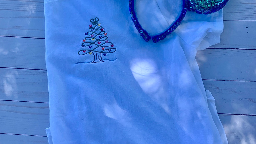 Mickey Christmas Tree embroidered T-Shirt or tank top