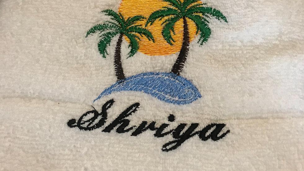 Tropical sunset embroidered towel, makeup bag, tote bag or blanket