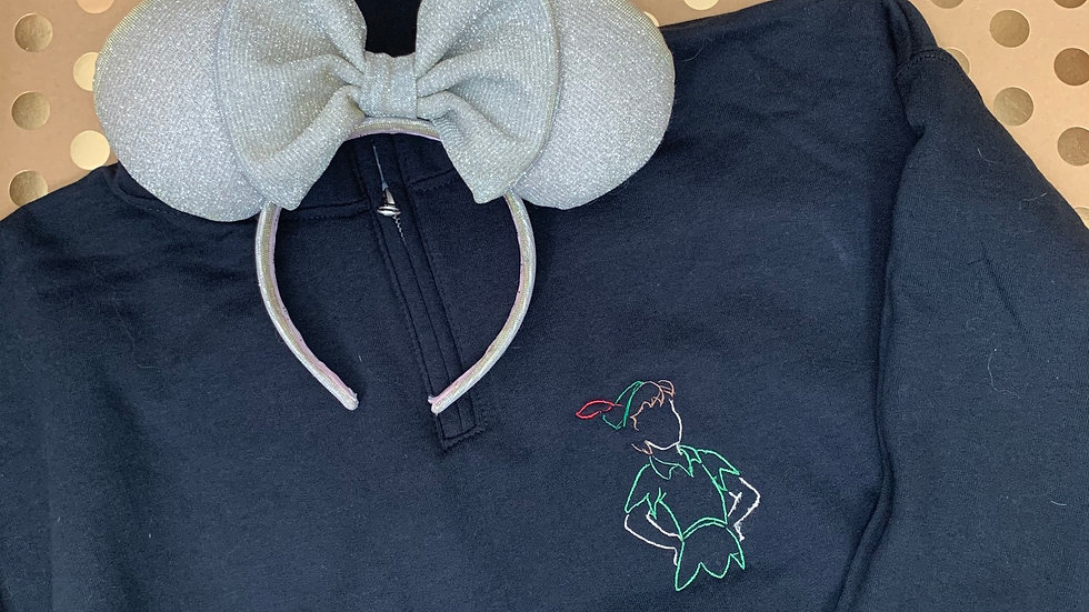 Peter Pan Silhouette embroidered hoodie, pullover, 1/4 zip