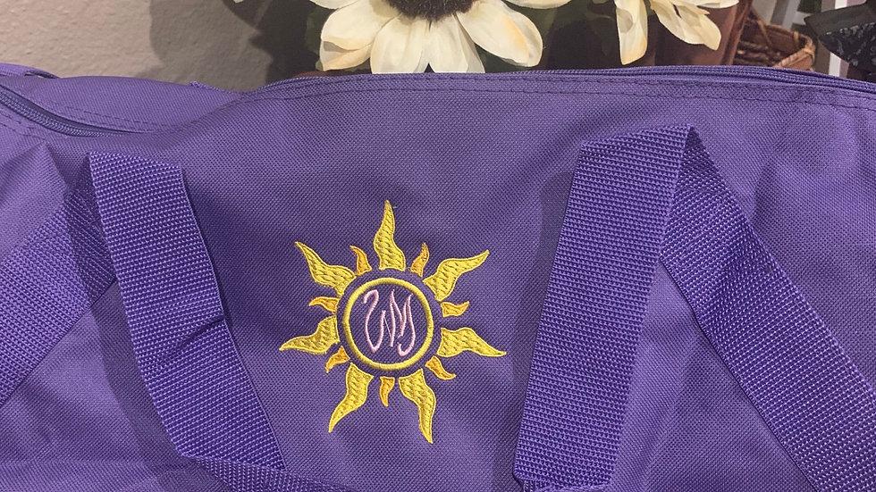 Rapunzel sun monogram embroidered duffel bag