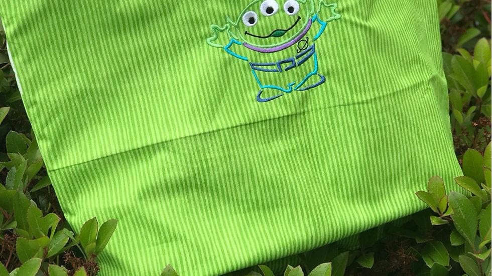 Little Green Alien embroidered makeup bag, tote bag, towel or blanket - Name emb