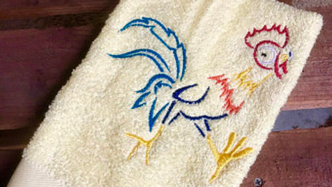 Hei Hei Chicken embroidered towel, makeup bag, tote bag, blanket