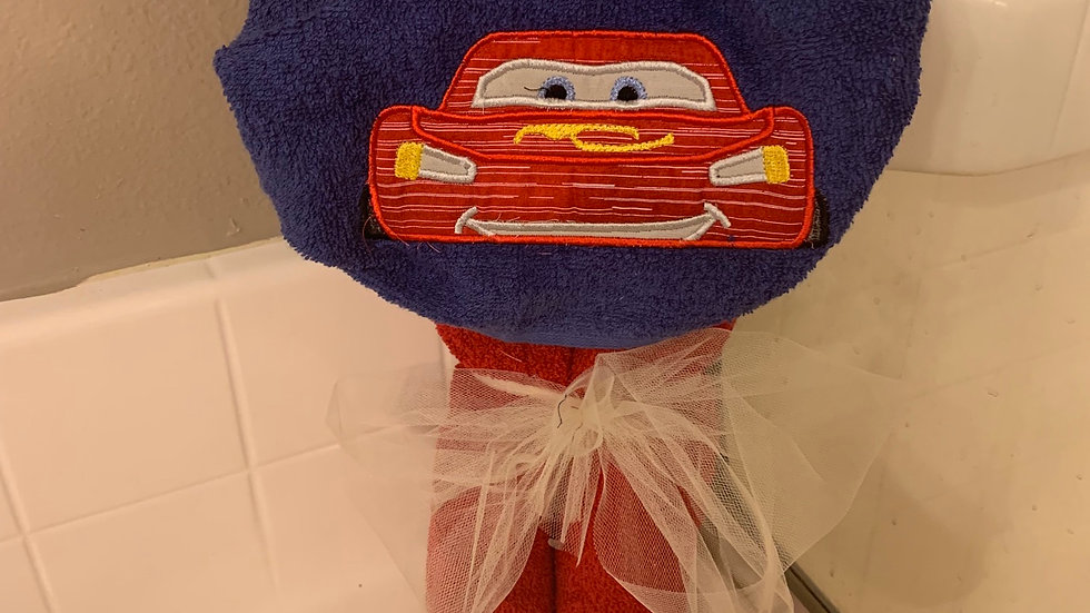 Lightening McQueen hooded towel - Name embroidery available