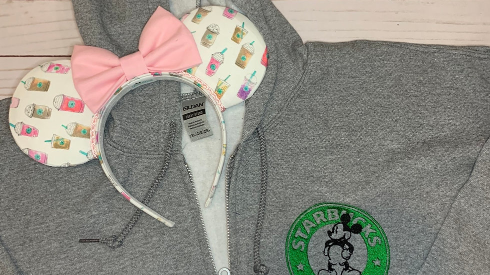 Mickey Starbucks embroidered zip up hoodie