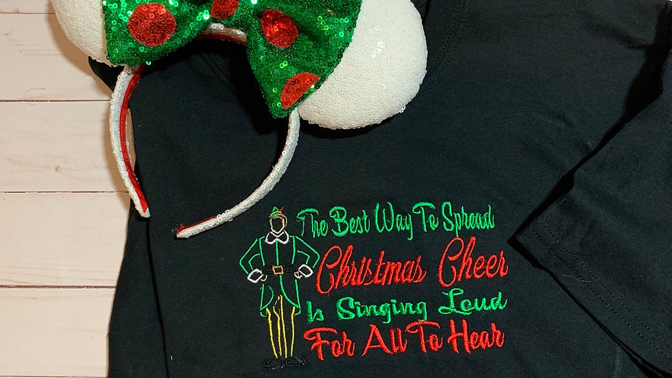 Buddy the Elf - Singing loud for all to hear embroidered T-Shirt or tank top