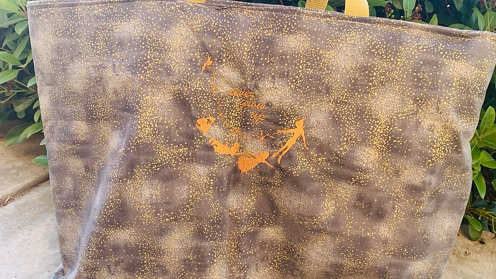Never Grown Up - Peter Pan embroidered tote bag, makeup bag, towel or blanket