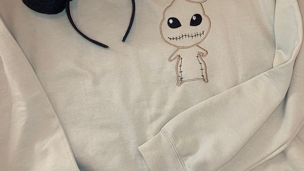 Oogie Boogie embroidered hoodie, pullover, 1/4