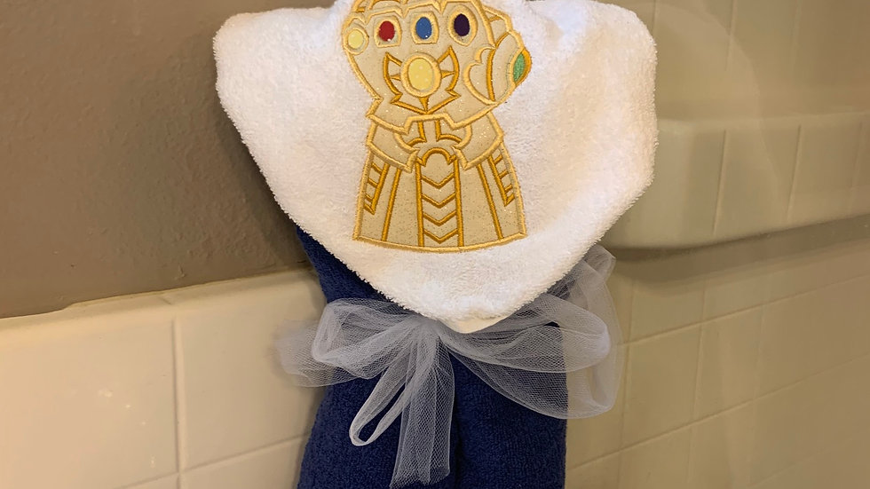 Infinity Gauntlet embroidered hooded towel