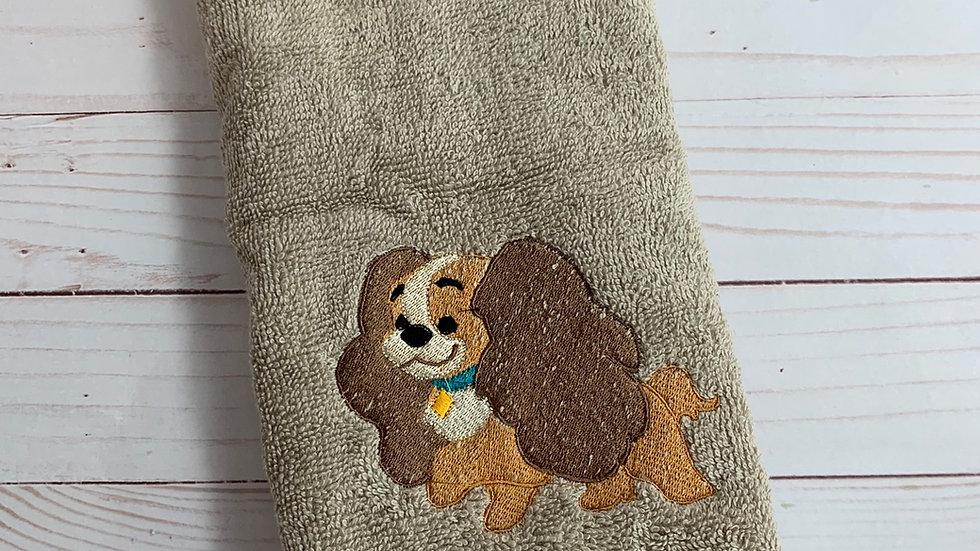 Lady dog embroidered towels, blanket, makeup bag or tot