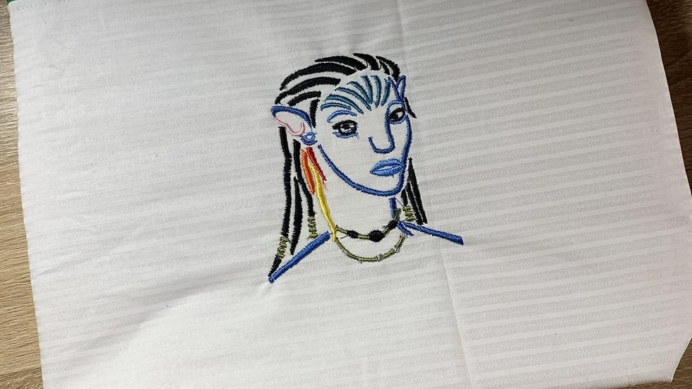 Female Na'Vi Avatar towels, makeup bag, tote