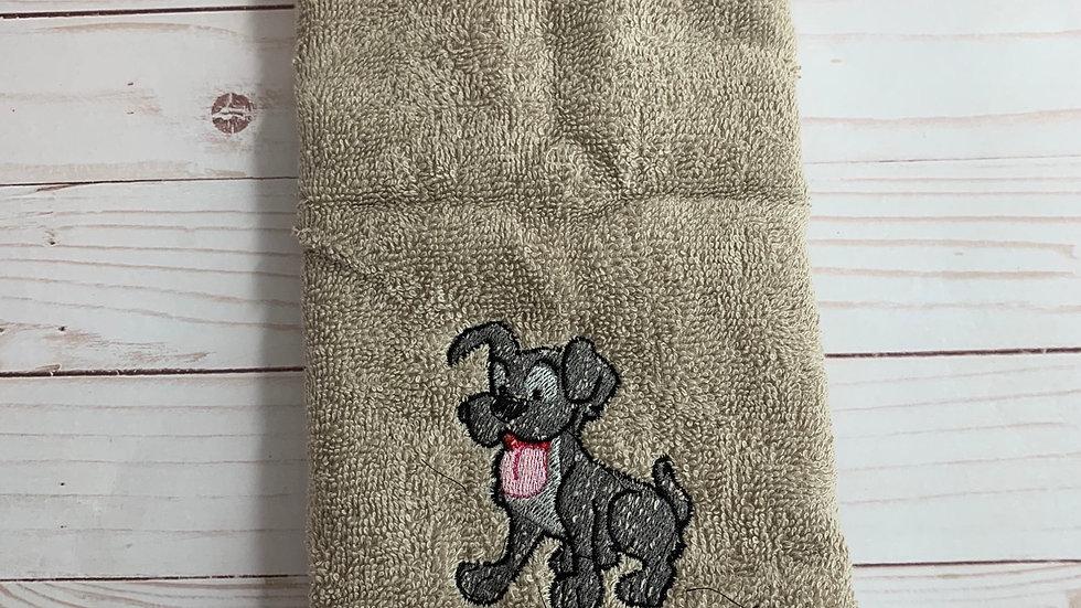 Tramp dog embroidered towels, blanket, makeup bag or tot